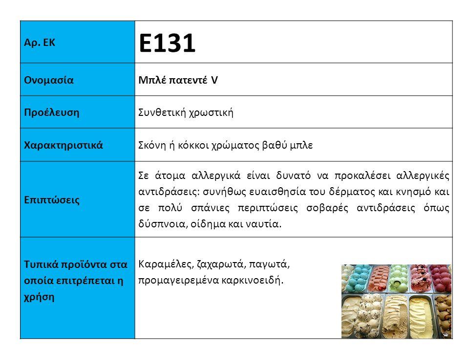 Αρ. ΕΚ Ε131 ΟνομασίαΜπλέ πατεντέ V ΠροέλευσηΣυνθετική χρωστική XαρακτηριστικάΣκόνη ή κόκκοι χρώματος βαθύ μπλε Επιπτώσεις Σε άτομα αλλεργικά είναι δυν