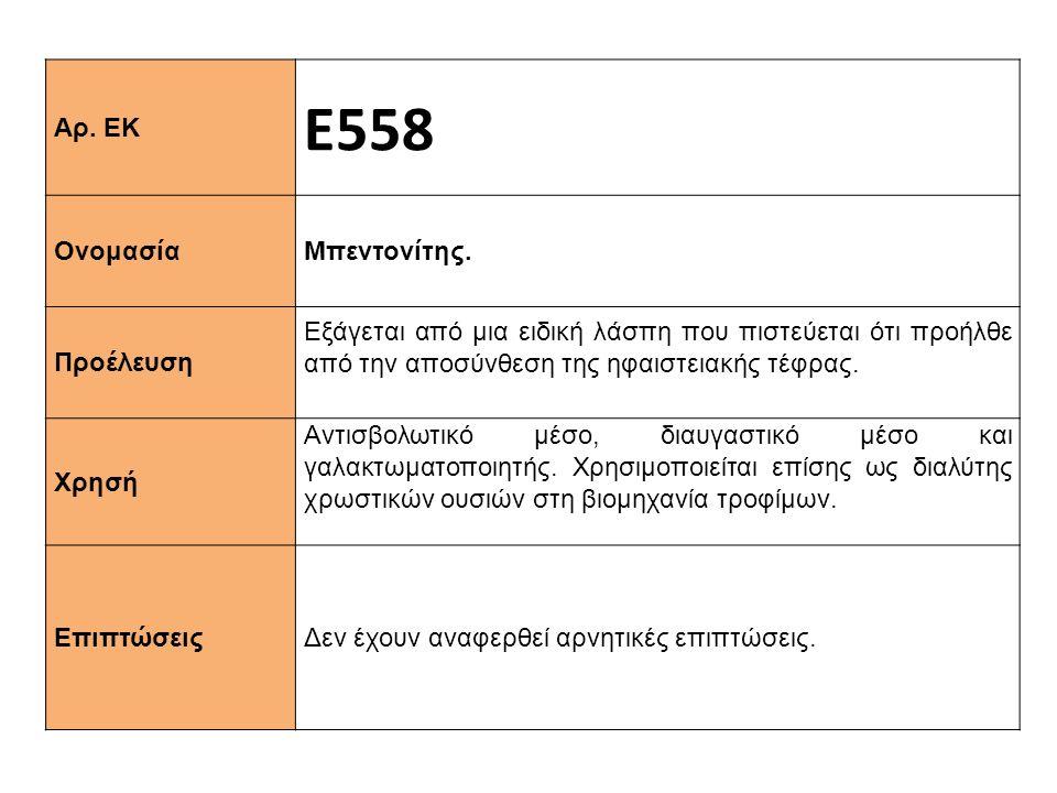 Αρ.ΕΚ Ε558 Ονομασία Μπεντονίτης.