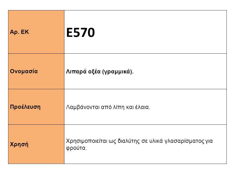 Αρ. ΕΚ Ε570 Ονομασία Λιπαρά οξέα (γραμμικά). Προέλευση Λαμβάνονται από λίπη και έλαια. Xρησή Χρησιμοποιείται ως διαλύτης σε υλικά γλασαρίσματος για φρ