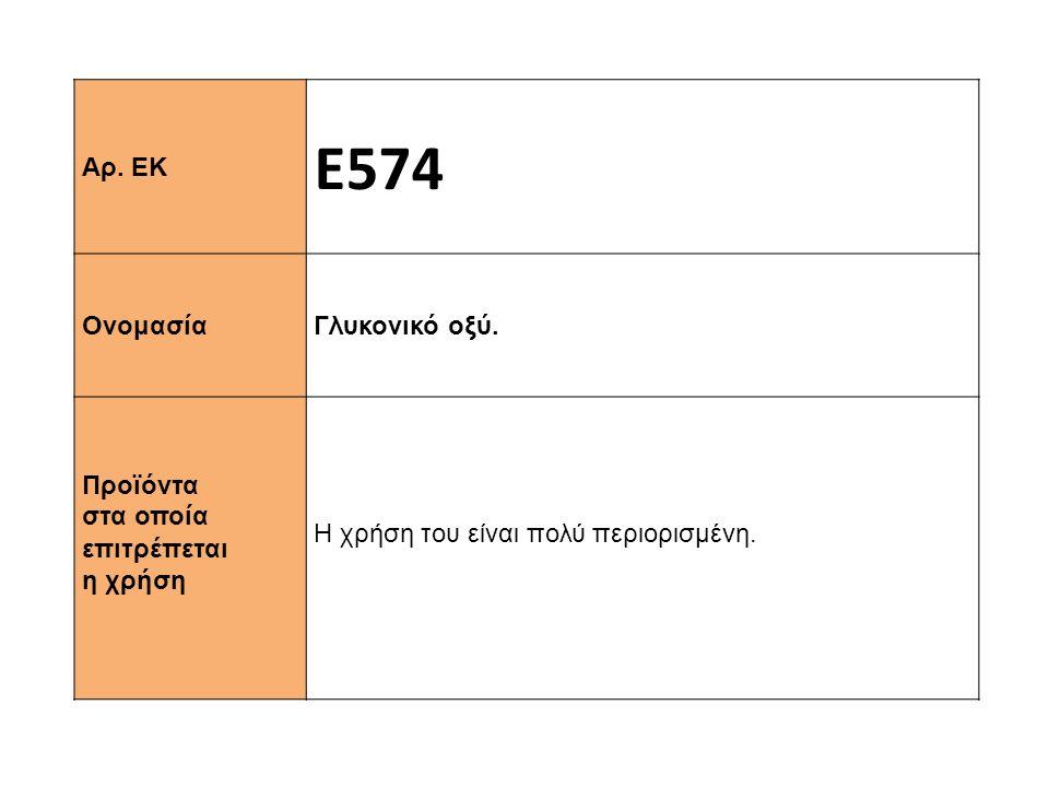 Αρ. ΕΚ Ε574 Ονομασία Γλυκονικό οξύ. Προϊόντα στα οποία επιτρέπεται η χρήση Η χρήση του είναι πολύ περιορισμένη.