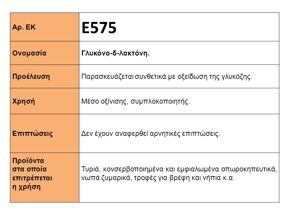 Αρ. ΕΚ Ε575 Ονομασία Γλυκόνο-δ-λακτόνη. Προέλευση Παρασκευάζεται συνθετικά με οξείδωση της γλυκόζης. Xρησή Μέσο οξίνισης, συμπλοκοποιητής. Επιπτώσεις