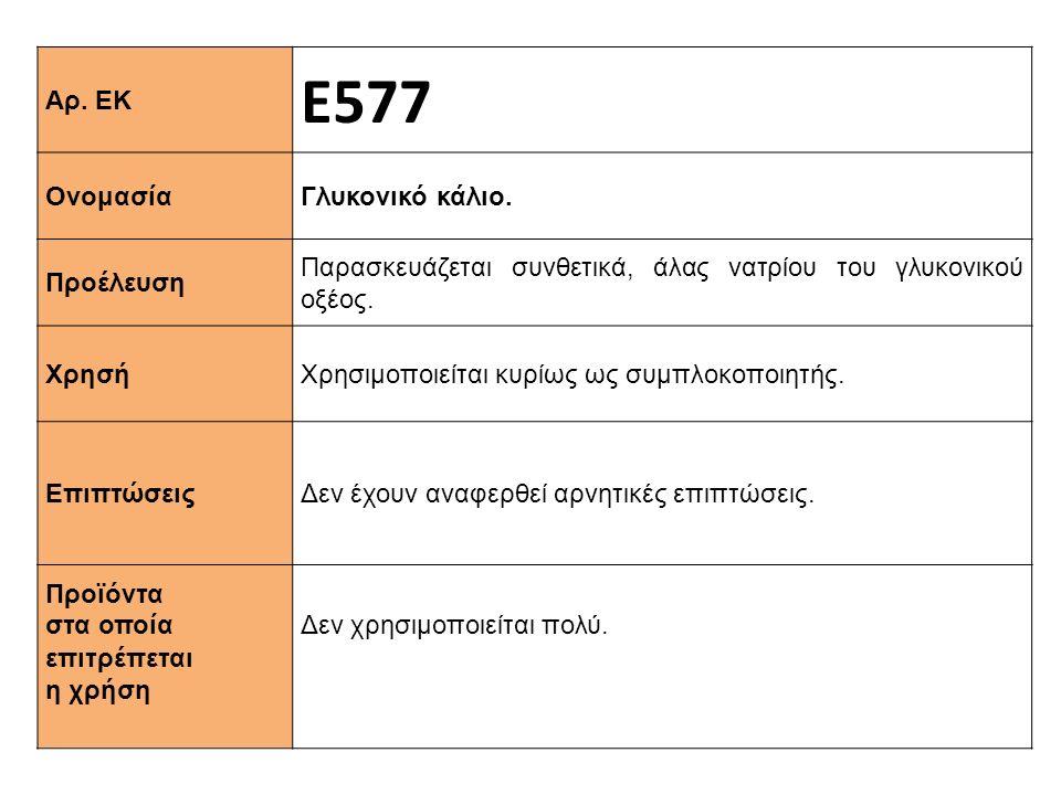 Αρ. ΕΚ Ε577 Ονομασία Γλυκονικό κάλιο. Προέλευση Παρασκευάζεται συνθετικά, άλας νατρίου του γλυκονικού οξέος. Xρησή Χρησιμοποιείται κυρίως ως συμπλοκοπ