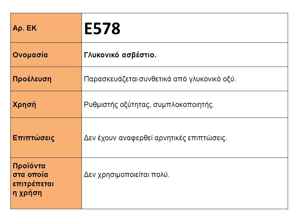 Αρ. ΕΚ Ε578 Ονομασία Γλυκονικό ασβέστιο. Προέλευση Παρασκευάζεται συνθετικά από γλυκονικό οξύ. Xρησή Ρυθμιστής οξύτητας, συμπλοκοποιητής. Επιπτώσεις Δ