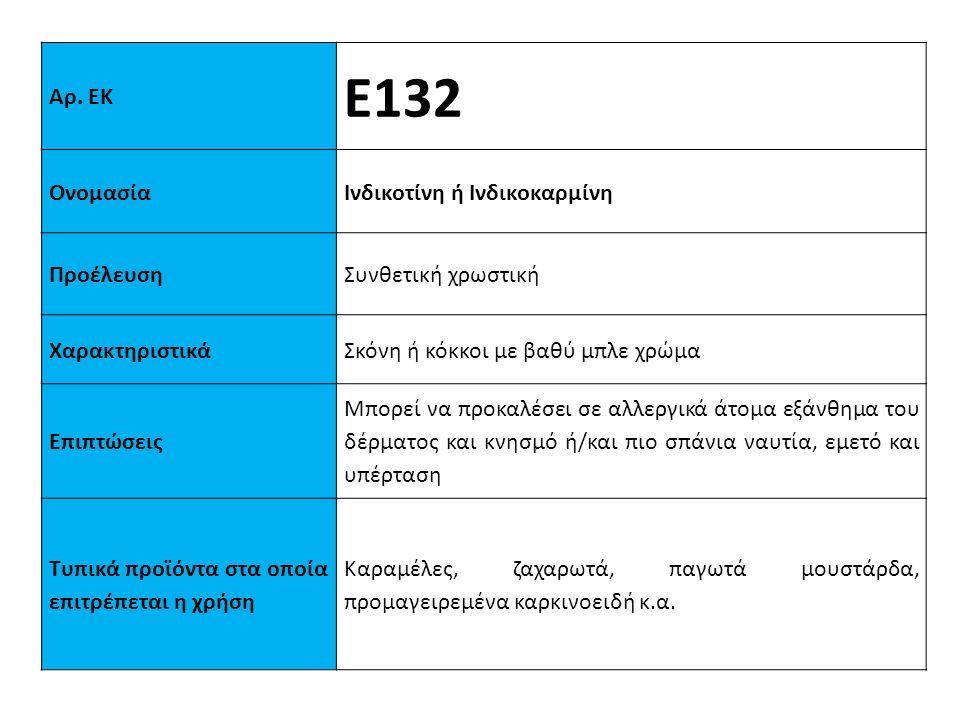 Αρ. ΕΚ Ε132 ΟνομασίαΙνδικοτίνη ή Ινδικοκαρμίνη ΠροέλευσηΣυνθετική χρωστική XαρακτηριστικάΣκόνη ή κόκκοι με βαθύ μπλε χρώμα Επιπτώσεις Μπορεί να προκαλ