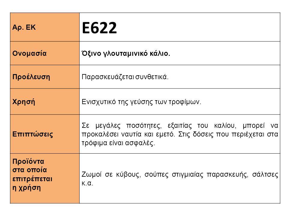Αρ. ΕΚ Ε622 Ονομασία Όξινο γλουταμινικό κάλιο. Προέλευση Παρασκευάζεται συνθετικά. Xρησή Ενισχυτικό της γεύσης των τροφίμων. Επιπτώσεις Σε μεγάλες ποσ