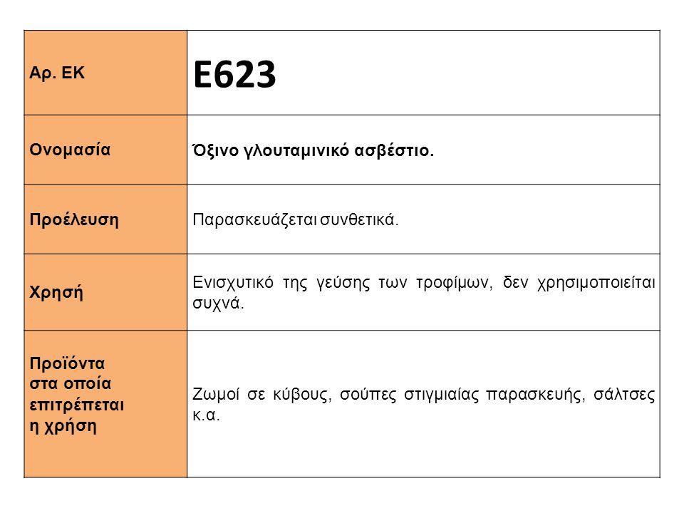 Αρ. ΕΚ Ε623 Ονομασία Όξινο γλουταμινικό ασβέστιο. Προέλευση Παρασκευάζεται συνθετικά. Xρησή Ενισχυτικό της γεύσης των τροφίμων, δεν χρησιμοποιείται συ