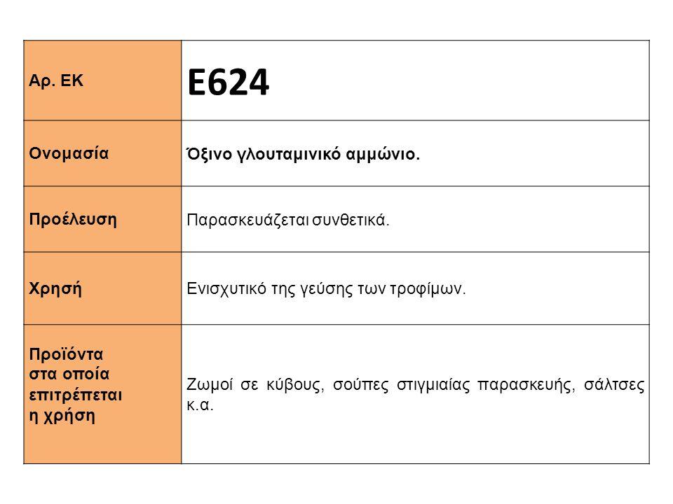 Αρ. ΕΚ Ε624 Ονομασία Όξινο γλουταμινικό αμμώνιο. Προέλευση Παρασκευάζεται συνθετικά. Xρησή Ενισχυτικό της γεύσης των τροφίμων. Προϊόντα στα οποία επιτ