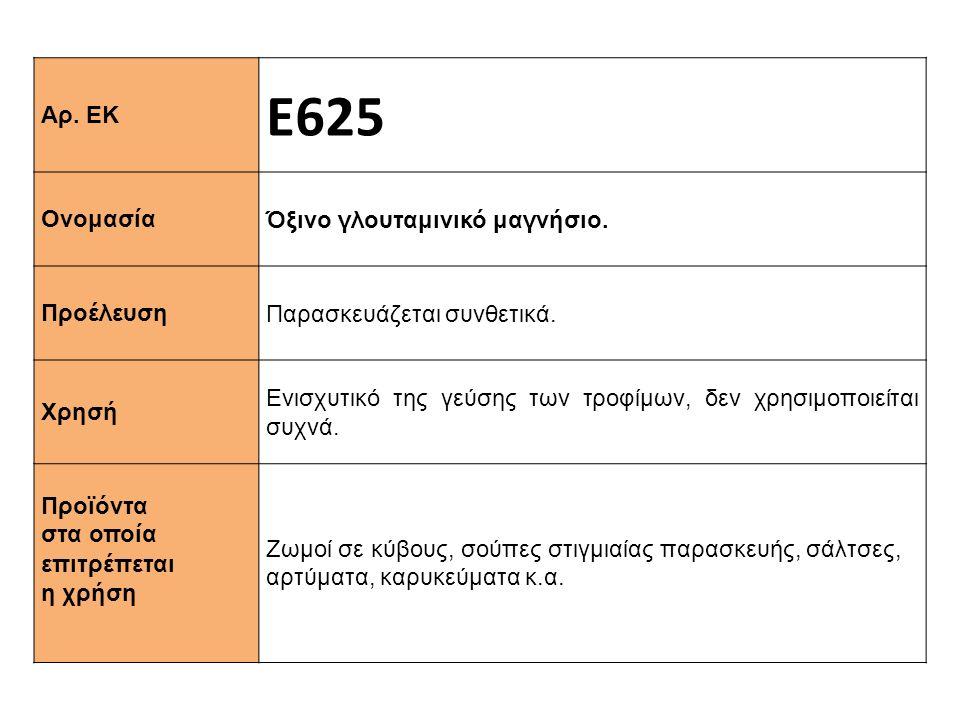 Αρ. ΕΚ Ε625 Ονομασία Όξινο γλουταμινικό μαγνήσιο. Προέλευση Παρασκευάζεται συνθετικά. Xρησή Ενισχυτικό της γεύσης των τροφίμων, δεν χρησιμοποιείται συ