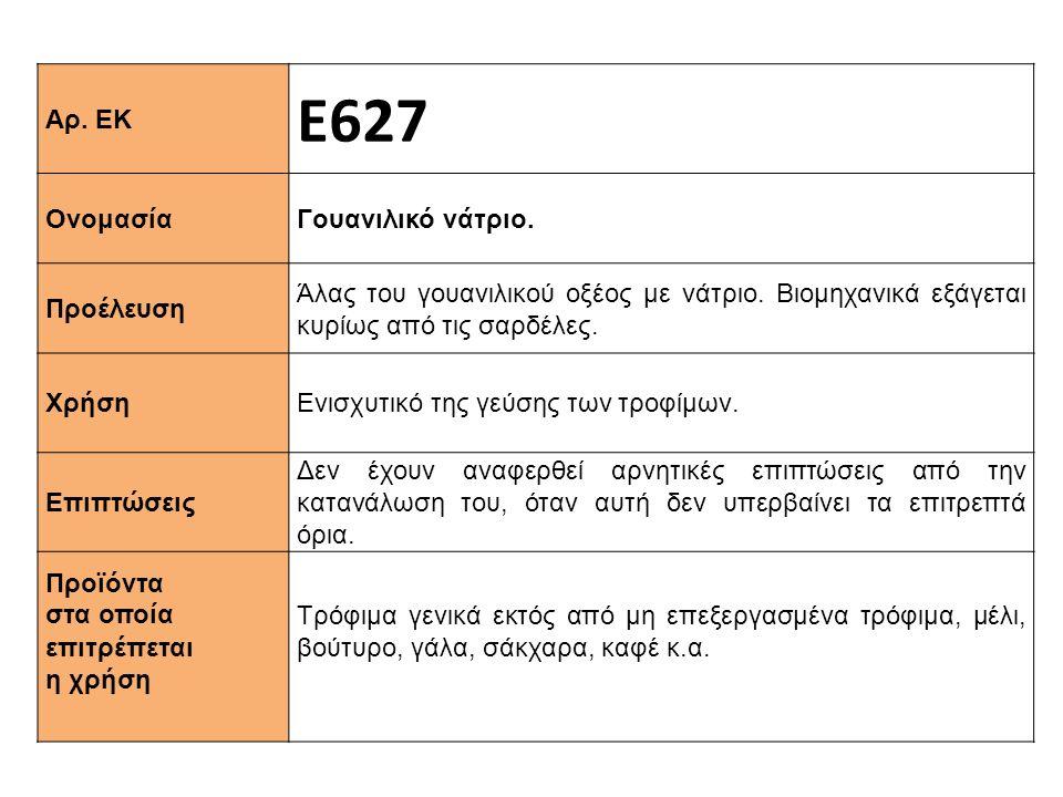 Αρ. ΕΚ Ε627 Ονομασία Γουανιλικό νάτριο. Προέλευση Άλας του γουανιλικού οξέος με νάτριο. Βιομηχανικά εξάγεται κυρίως από τις σαρδέλες. Χρήση Ενισχυτικό
