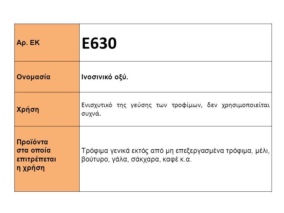 Αρ. ΕΚ Ε630 Ονομασία Ινοσινικό οξύ. Χρήση Ενισχυτικό της γεύσης των τροφίμων, δεν χρησιμοποιείται συχνά. Προϊόντα στα οποία επιτρέπεται η χρήση Τρόφιμ