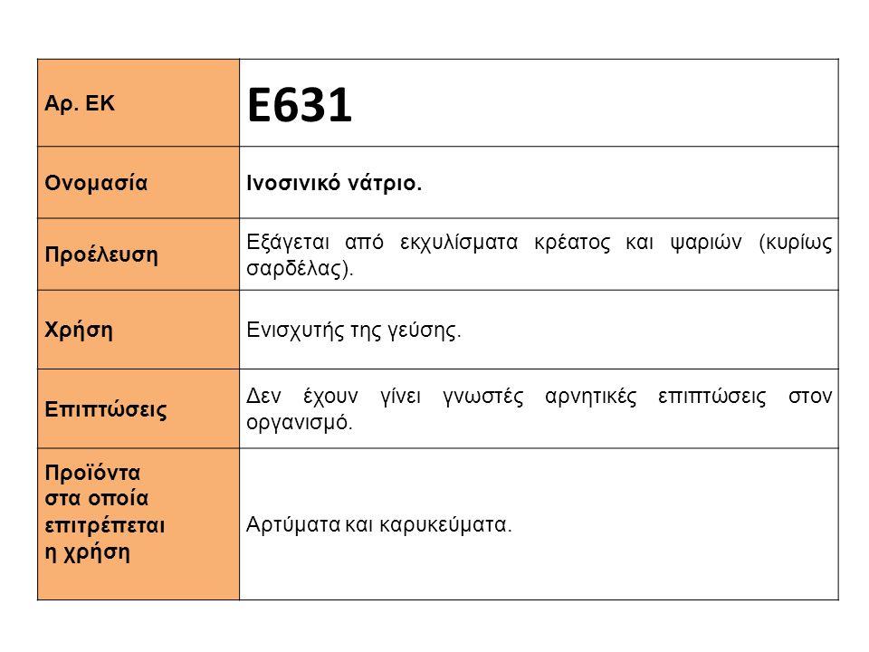 Αρ. ΕΚ Ε631 Ονομασία Ινοσινικό νάτριο. Προέλευση Εξάγεται από εκχυλίσματα κρέατος και ψαριών (κυρίως σαρδέλας). Χρήση Ενισχυτής της γεύσης. Επιπτώσεις