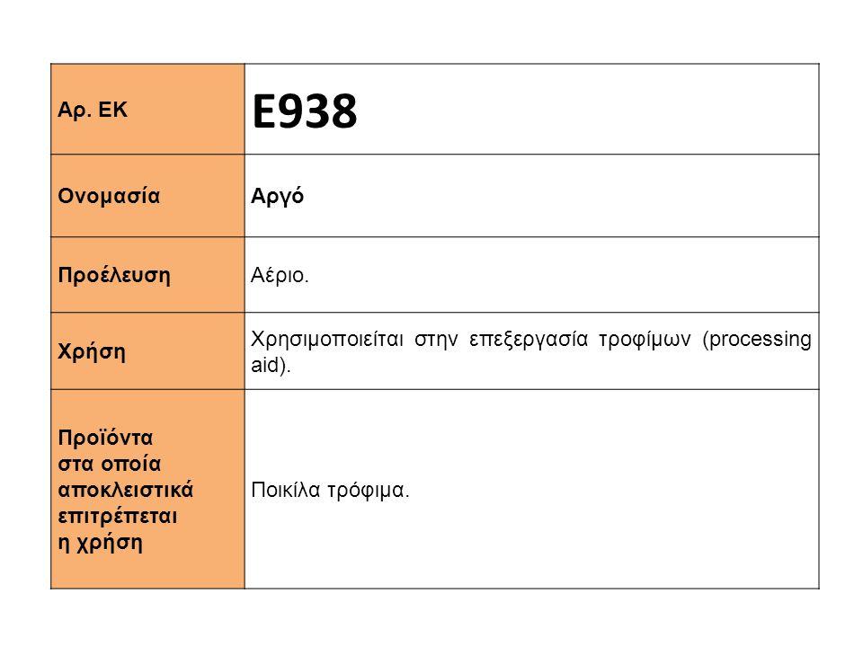 Αρ. ΕΚ Ε938 Ονομασία Αργό Προέλευση Αέριο. Χρήση Χρησιμοποιείται στην επεξεργασία τροφίμων (processing aid). Προϊόντα στα οποία αποκλειστικά επιτρέπετ