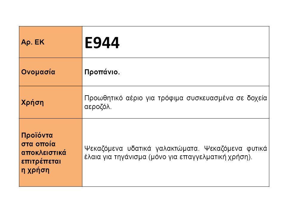 Αρ.ΕΚ Ε944 Ονομασία Προπάνιο. Χρήση Προωθητικό αέριο για τρόφιμα συσκευασμένα σε δοχεία αεροζόλ.