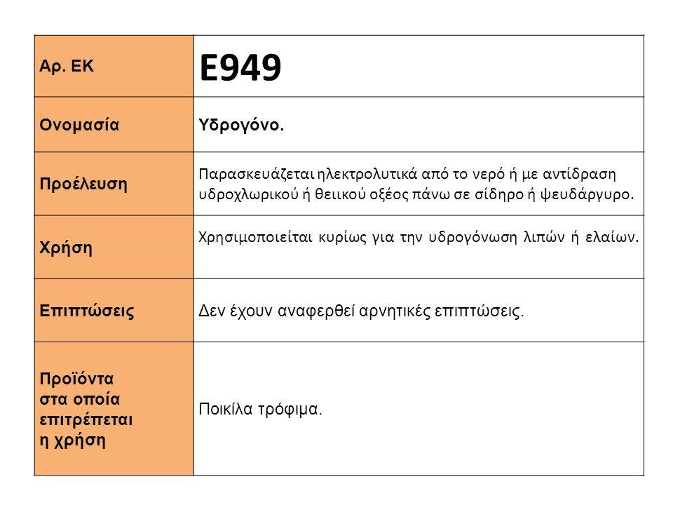 Αρ.ΕΚ Ε949 Ονομασία Υδρογόνο.