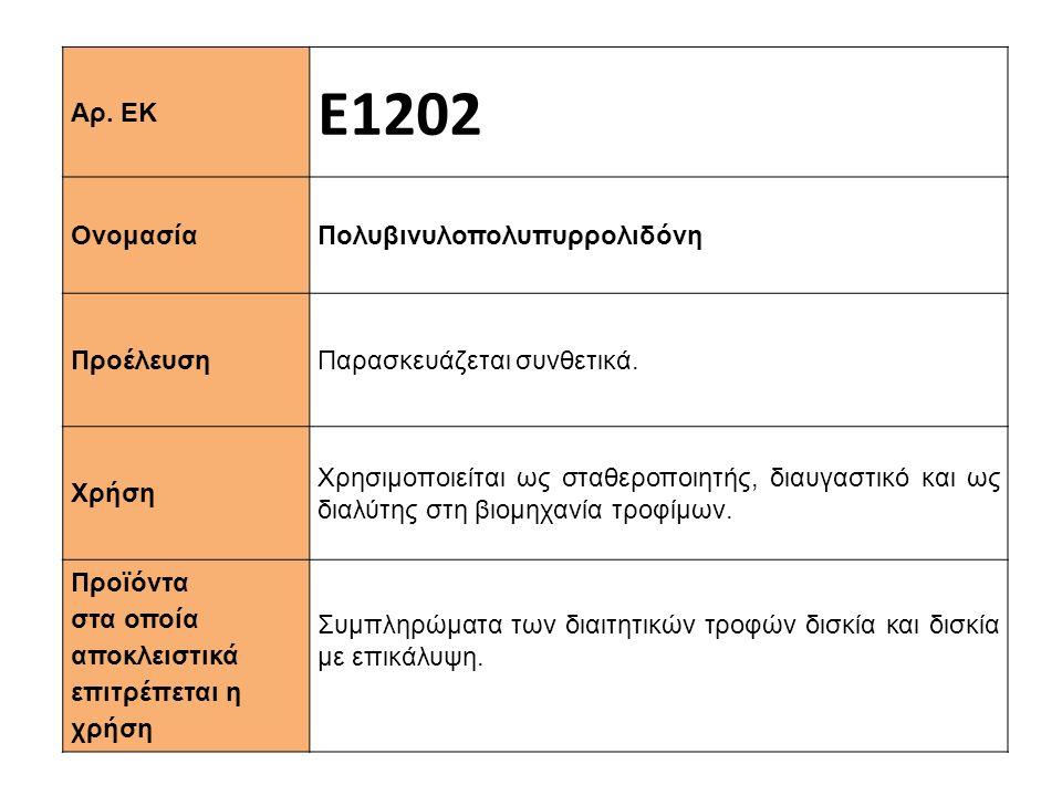 Αρ.ΕΚ Ε1202 Ονομασία Πολυβινυλοπολυπυρρολιδόνη Προέλευση Παρασκευάζεται συνθετικά.