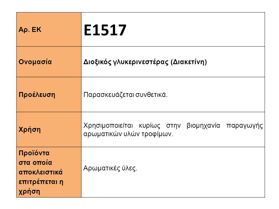 Αρ.ΕΚ Ε1517 Ονομασία Διοξικός γλυκερινεστέρας (Διακετίνη) Προέλευση Παρασκευάζεται συνθετικά.