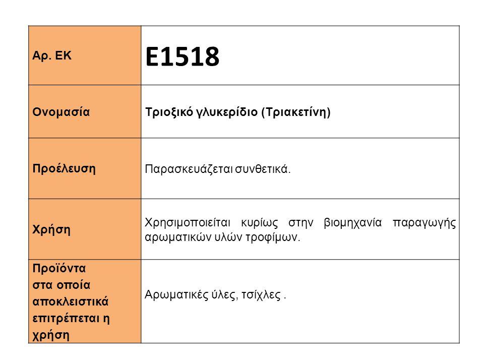 Αρ.ΕΚ Ε1518 Ονομασία Τριοξικό γλυκερίδιο (Τριακετίνη) Προέλευση Παρασκευάζεται συνθετικά.