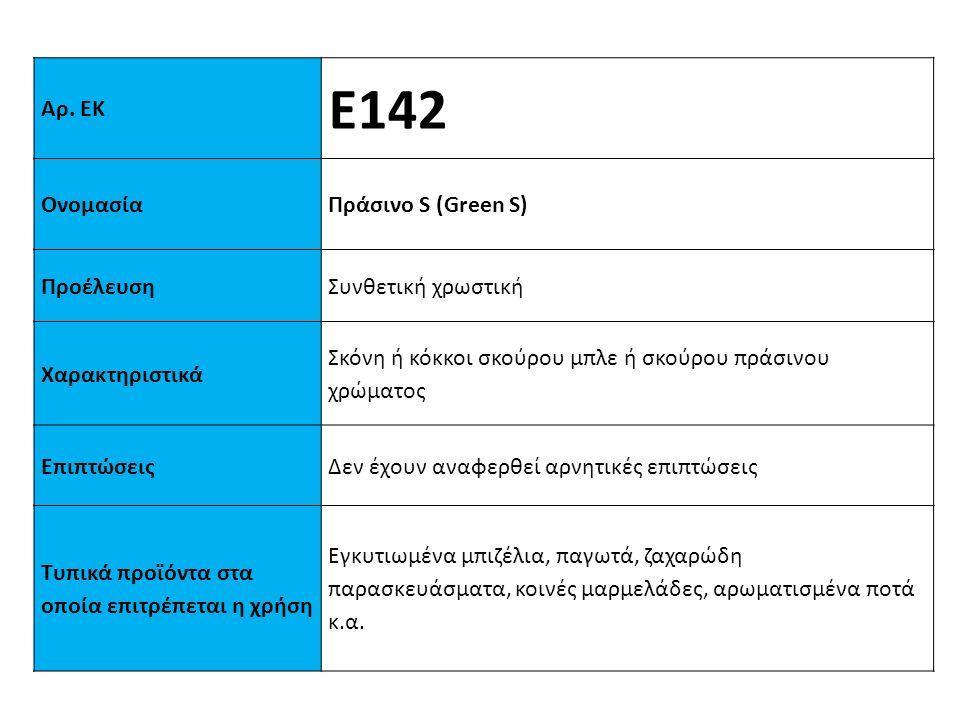 Αρ. ΕΚ Ε142 ΟνομασίαΠράσινo S (Green S) ΠροέλευσηΣυνθετική χρωστική Xαρακτηριστικά Σκόνη ή κόκκοι σκούρου μπλε ή σκούρου πράσινου χρώματος ΕπιπτώσειςΔ
