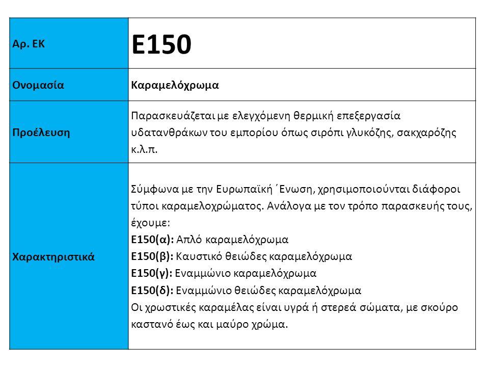 Αρ. ΕΚ Ε150 ΟνομασίαΚαραμελόχρωμα Προέλευση Παρασκευάζεται με ελεγχόμενη θερμική επεξεργασία υδατανθράκων του εμπορίου όπως σιρόπι γλυκόζης, σακχαρόζη