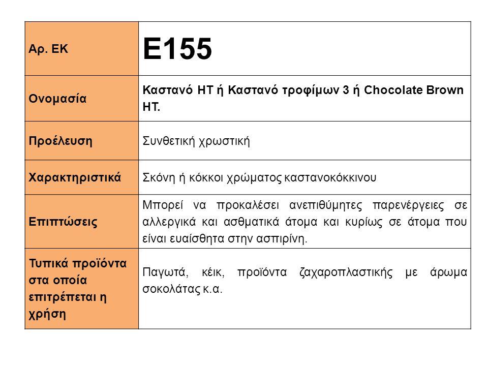 Αρ. ΕΚ E155 Ονομασία Καστανό ΗΤ ή Καστανό τροφίμων 3 ή Chocolate Brown HT. ΠροέλευσηΣυνθετική χρωστική XαρακτηριστικάΣκόνη ή κόκκοι χρώματος καστανοκό