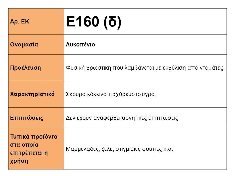 Αρ. ΕΚ Ε160 (δ) ΟνομασίαΛυκοπένιο ΠροέλευσηΦυσική χρωστική που λαμβάνεται με εκχύλιση από ντομάτες. XαρακτηριστικάΣκούρο κόκκινο παχύρευστο υγρό. Επιπ
