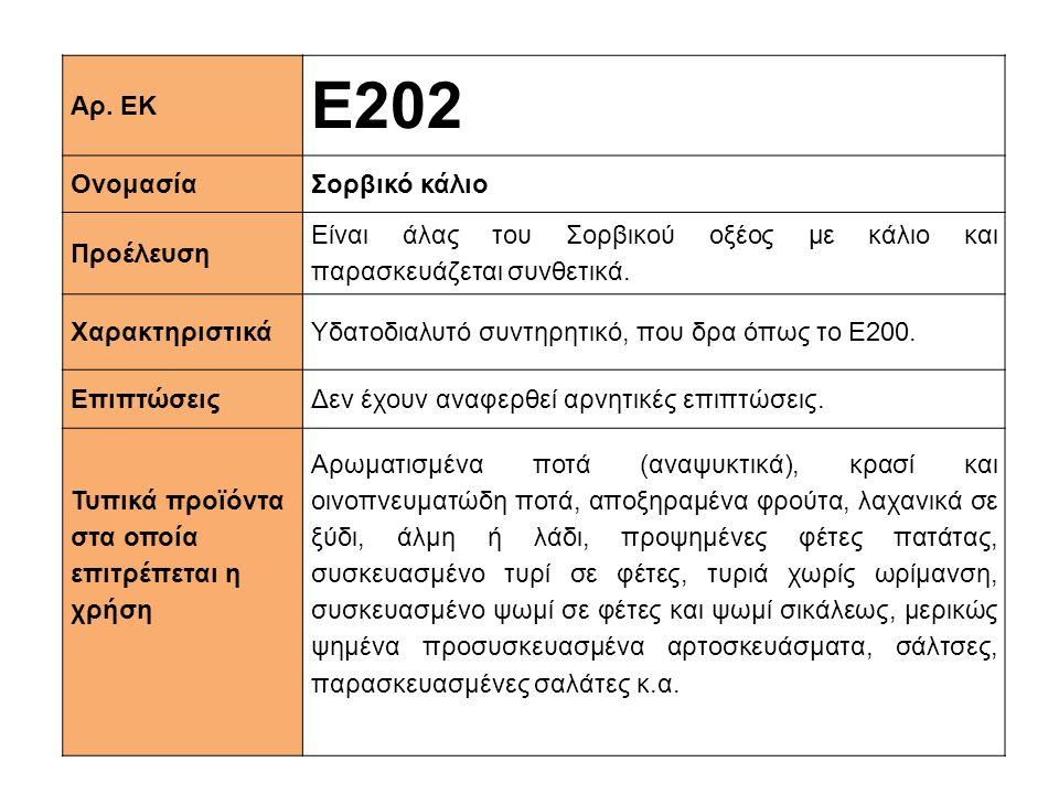 Αρ. ΕΚ Ε202 ΟνομασίαΣορβικό κάλιο Προέλευση Είναι άλας του Σορβικού οξέος με κάλιο και παρασκευάζεται συνθετικά. XαρακτηριστικάΥδατοδιαλυτό συντηρητικ