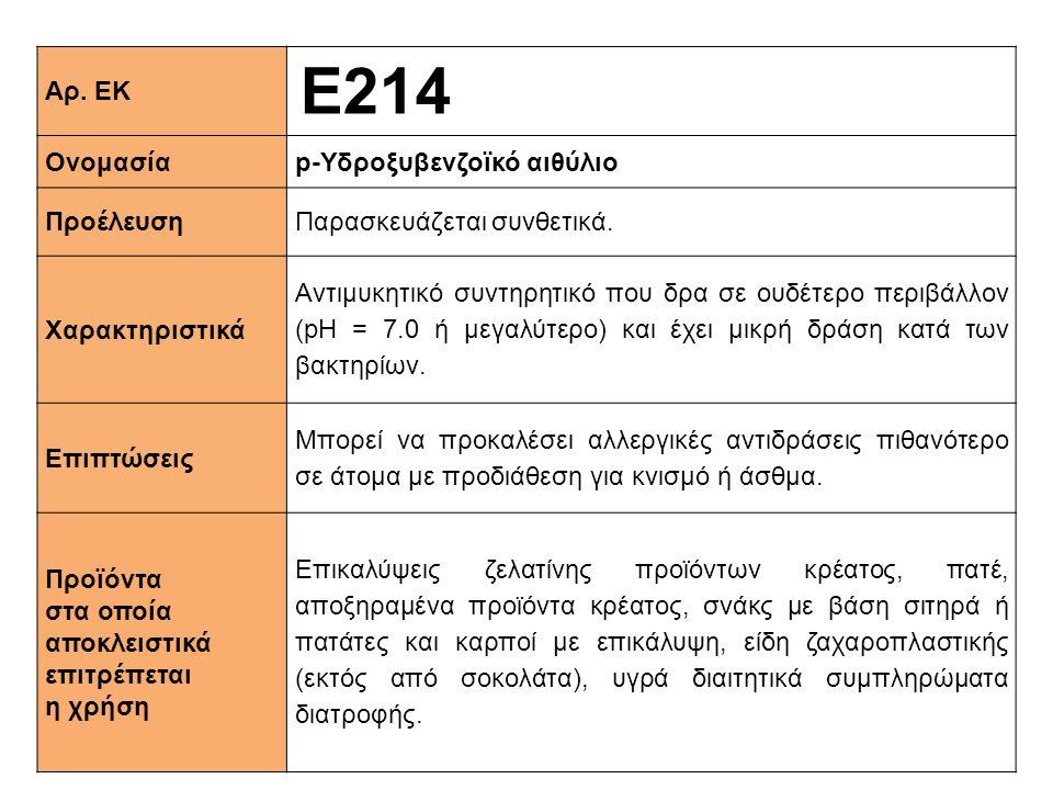 Αρ. ΕΚ Ε214 Ονομασίαp-Υδροξυβενζοϊκό αιθύλιο ΠροέλευσηΠαρασκευάζεται συνθετικά. Xαρακτηριστικά Αντιμυκητικό συντηρητικό που δρα σε ουδέτερο περιβάλλον