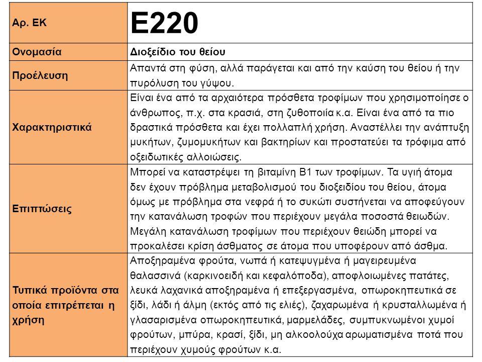 Αρ. ΕΚ Ε220 ΟνομασίαΔιοξείδιο του θείου Προέλευση Απαντά στη φύση, αλλά παράγεται και από την καύση του θείου ή την πυρόλυση του γύψου. Xαρακτηριστικά