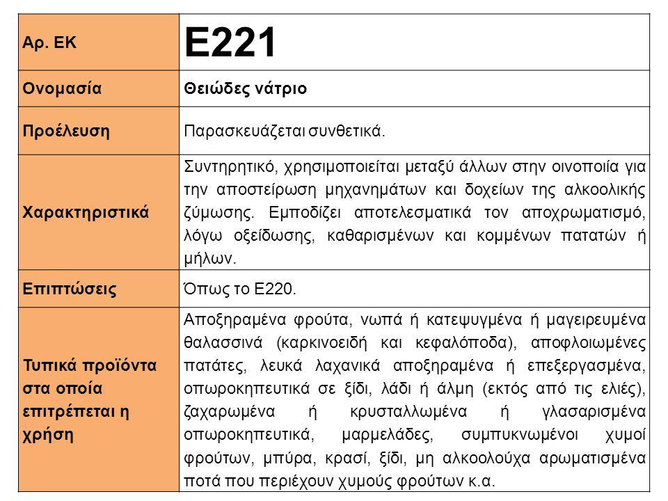 Αρ. ΕΚ Ε221 ΟνομασίαΘειώδες νάτριο ΠροέλευσηΠαρασκευάζεται συνθετικά. Xαρακτηριστικά Συντηρητικό, χρησιμοποιείται μεταξύ άλλων στην οινοποιία για την