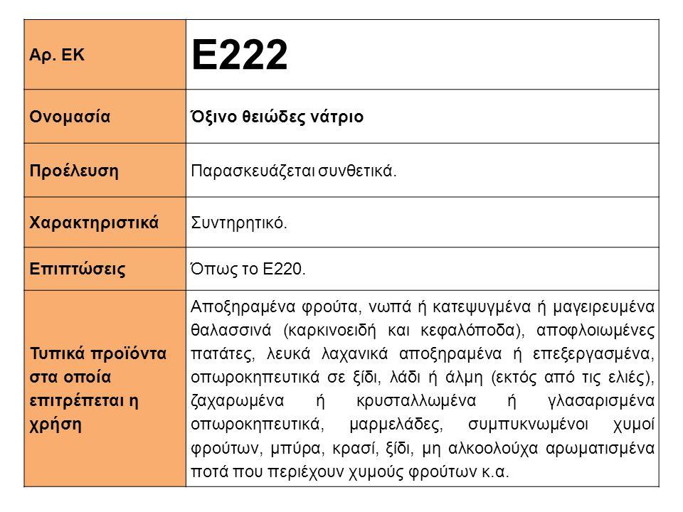 Αρ. ΕΚ Ε222 ΟνομασίαΌξινο θειώδες νάτριο ΠροέλευσηΠαρασκευάζεται συνθετικά. XαρακτηριστικάΣυντηρητικό. ΕπιπτώσειςΌπως το Ε220. Τυπικά προϊόντα στα οπο