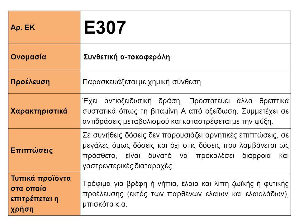 Αρ. ΕΚ Ε307 ΟνομασίαΣυνθετική α-τοκοφερόλη ΠροέλευσηΠαρασκευάζεται με χημική σύνθεση Xαρακτηριστικά Έχει αντιοξειδωτική δράση. Προστατεύει άλλα θρεπτι