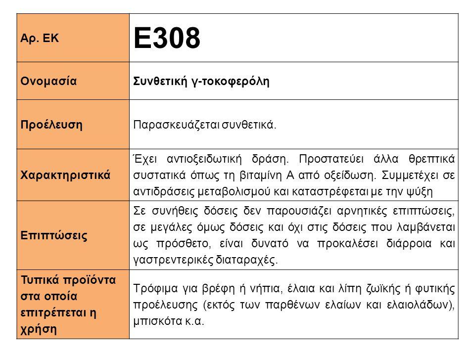 Αρ. ΕΚ Ε308 ΟνομασίαΣυνθετική γ-τοκοφερόλη ΠροέλευσηΠαρασκευάζεται συνθετικά. Xαρακτηριστικά Έχει αντιοξειδωτική δράση. Προστατεύει άλλα θρεπτικά συστ