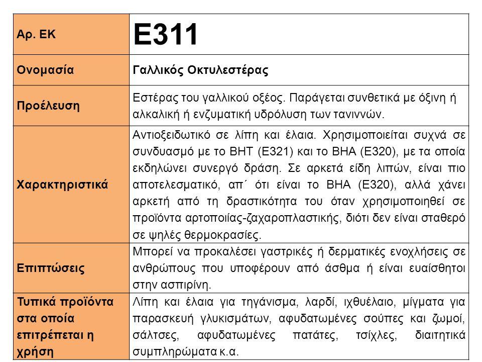 Αρ. ΕΚ Ε311 ΟνομασίαΓαλλικός Οκτυλεστέρας Προέλευση Εστέρας του γαλλικού οξέος. Παράγεται συνθετικά με όξινη ή αλκαλική ή ενζυματική υδρόλυση των τανι