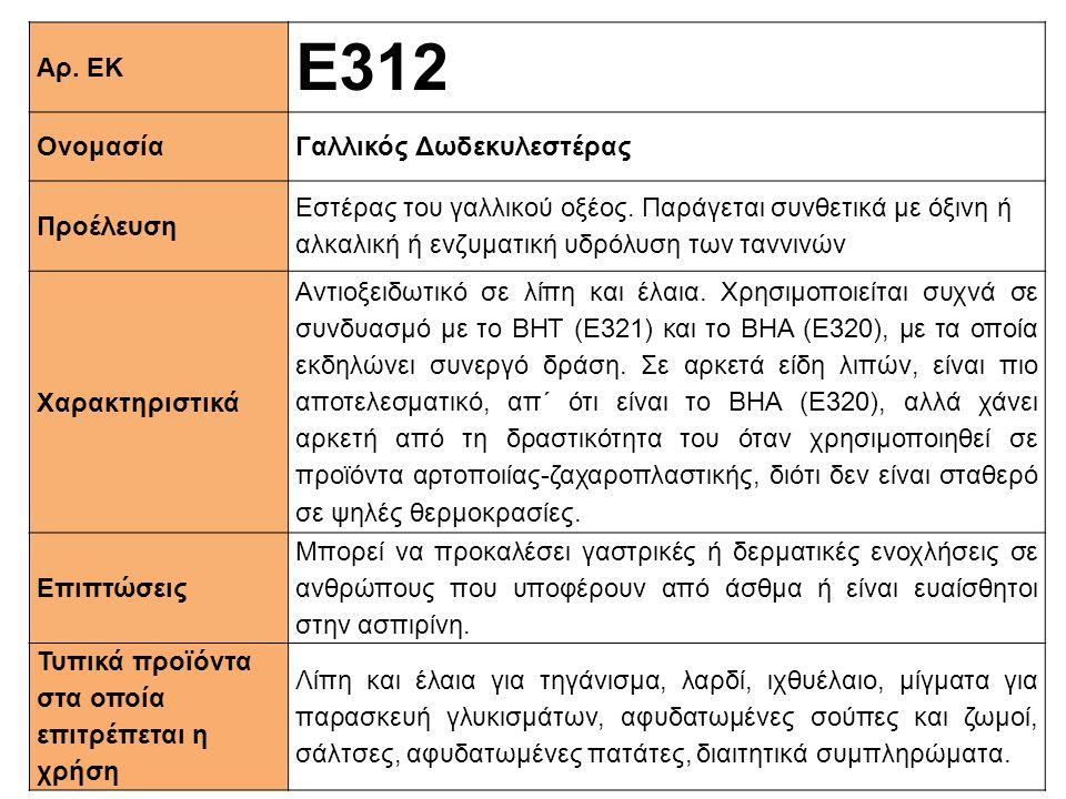 Αρ. ΕΚ Ε312 ΟνομασίαΓαλλικός Δωδεκυλεστέρας Προέλευση Εστέρας του γαλλικού οξέος. Παράγεται συνθετικά με όξινη ή αλκαλική ή ενζυματική υδρόλυση των τα