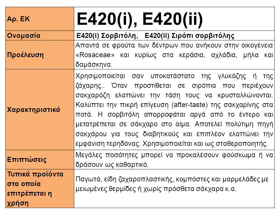 Αρ. ΕΚ Ε420(i), E420(ii) ΟνομασίαE420(i) Σορβιτόλη, Ε420(ii) Σιρόπι σορβιτόλης Προέλευση Απαντά σε φρούτα των δέντρων που ανήκουν στην οικογένεια «Ros