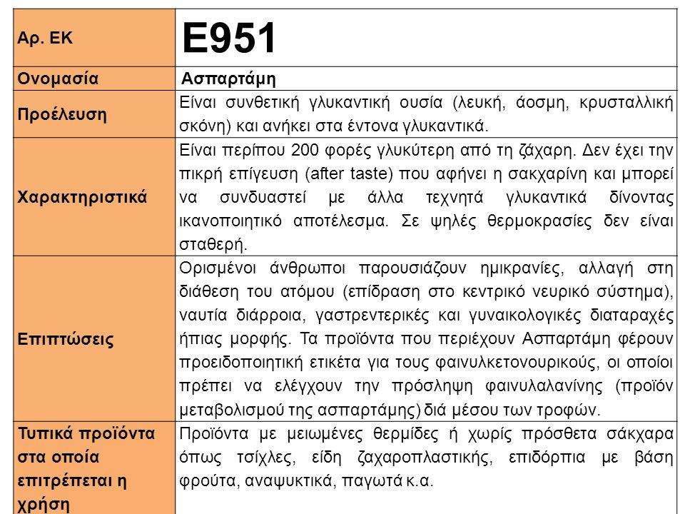 Αρ. ΕΚ Ε951 ΟνομασίαΑσπαρτάμη Προέλευση Είναι συνθετική γλυκαντική ουσία (λευκή, άοσμη, κρυσταλλική σκόνη) και ανήκει στα έντονα γλυκαντικά. Xαρακτηρι