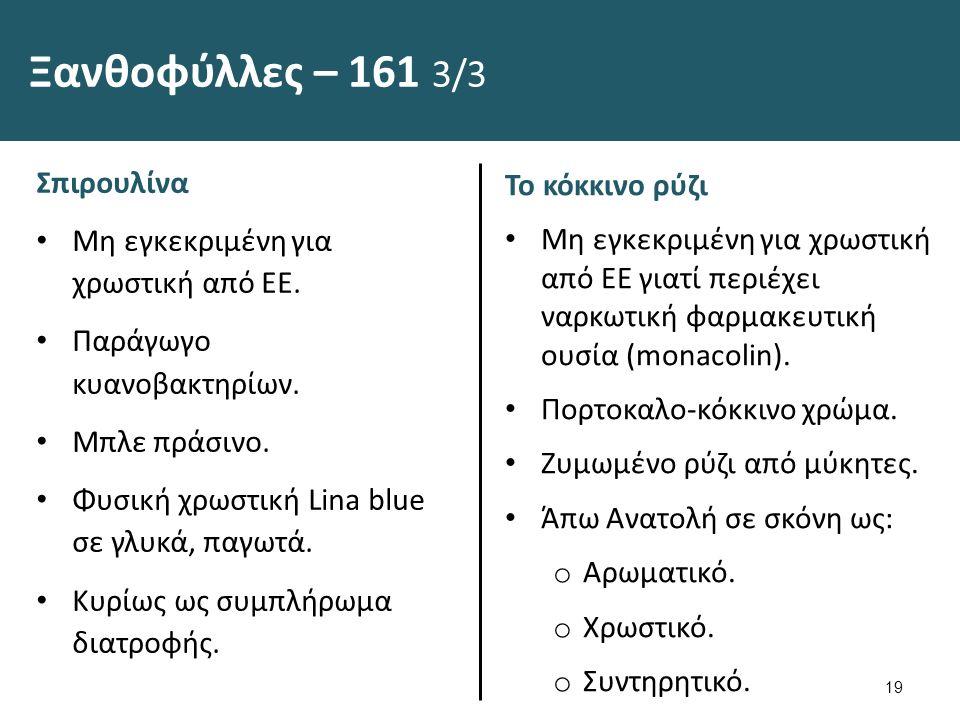 Ξανθοφύλλες – 161 3/3 Σπιρουλίνα Μη εγκεκριμένη για χρωστική από ΕΕ.