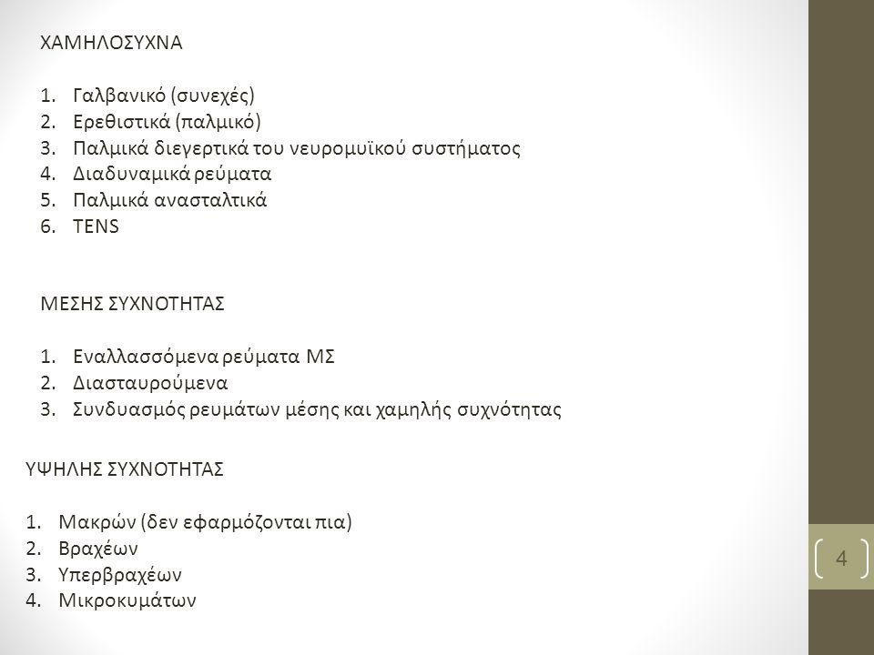 4 ΧΑΜΗΛΟΣΥΧΝΑ 1.Γαλβανικό (συνεχές) 2.Ερεθιστικά (παλμικό) 3.Παλμικά διεγερτικά του νευρομυϊκού συστήματος 4.Διαδυναμικά ρεύματα 5.Παλμικά ανασταλτικά 6.ΤΕΝS ΜΕΣΗΣ ΣΥΧΝΟΤΗΤΑΣ 1.Εναλλασσόμενα ρεύματα ΜΣ 2.Διασταυρούμενα 3.Συνδυασμός ρευμάτων μέσης και χαμηλής συχνότητας ΥΨΗΛΗΣ ΣΥΧΝΟΤΗΤΑΣ 1.Μακρών (δεν εφαρμόζονται πια) 2.Βραχέων 3.Υπερβραχέων 4.Μικροκυμάτων