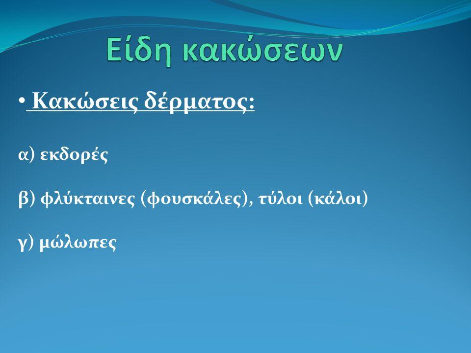 Κακώσεις δέρματος: α) εκδορές β) φλύκταινες (φουσκάλες), τύλοι (κάλοι) γ) μώλωπες