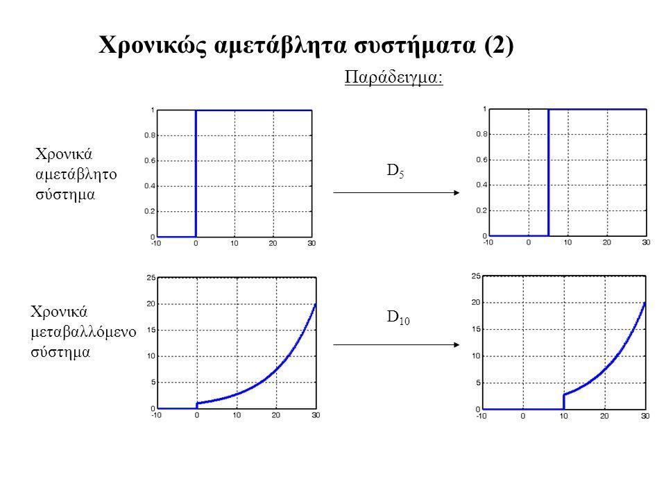 Χρονικώς αμετάβλητα συστήματα (2) Παράδειγμα: D5D5 Χρονικά αμετάβλητο σύστημα D 10 Χρονικά μεταβαλλόμενο σύστημα