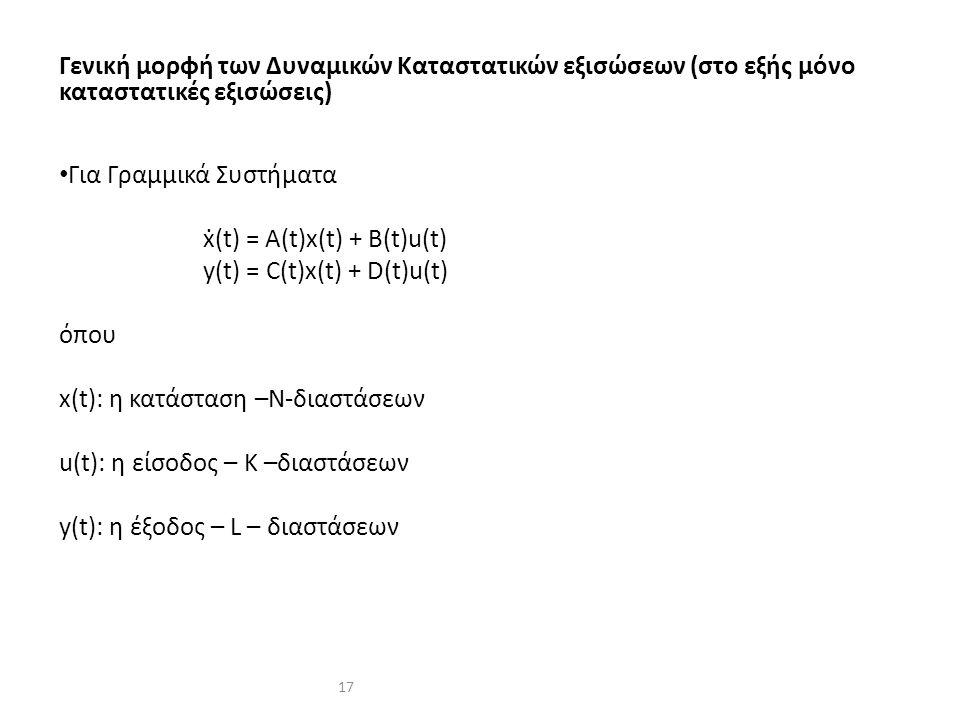 17 Γενική μορφή των Δυναμικών Καταστατικών εξισώσεων (στο εξής μόνο καταστατικές εξισώσεις) Για Γραμμικά Συστήματα ẋ(t) = A(t)x(t) + B(t)u(t) y(t) = C