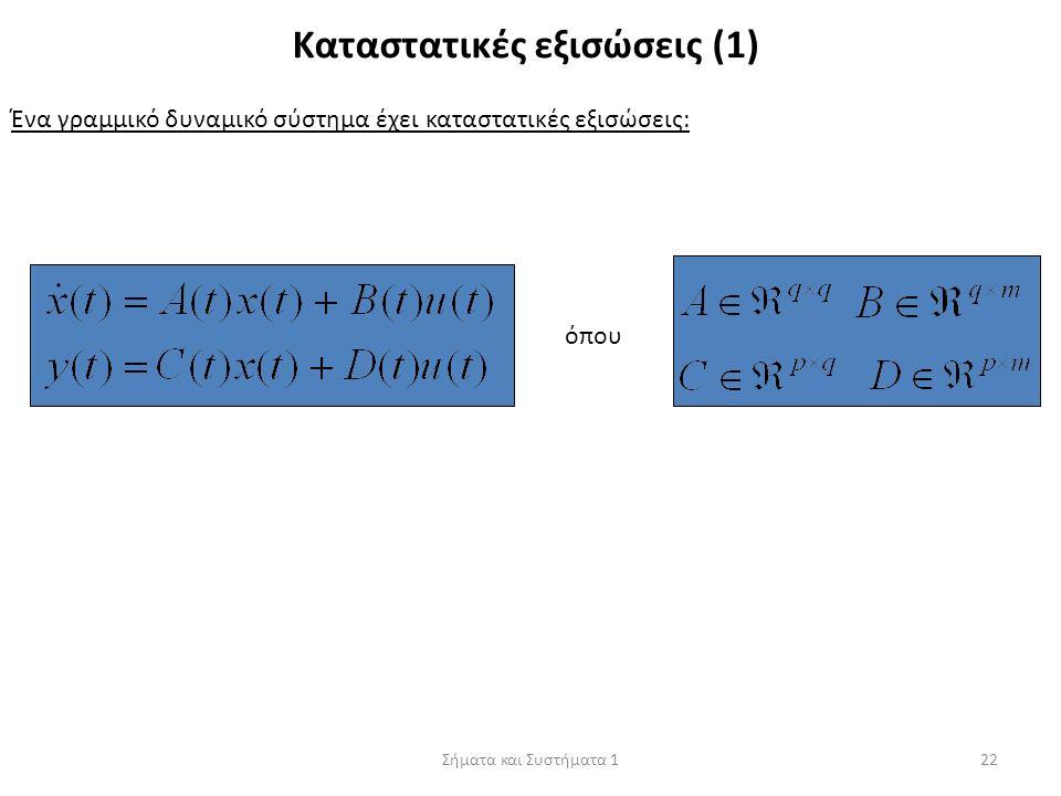 Σήματα και Συστήματα 122 Καταστατικές εξισώσεις (1) Ένα γραμμικό δυναμικό σύστημα έχει καταστατικές εξισώσεις: όπου
