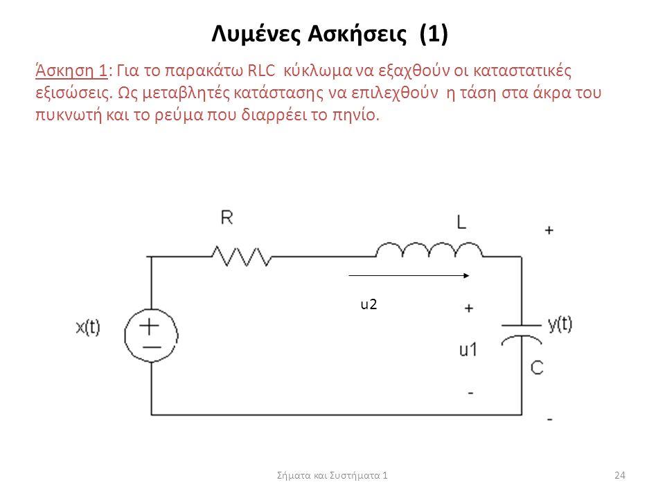 Σήματα και Συστήματα 124 Λυμένες Ασκήσεις (1) Άσκηση 1: Για το παρακάτω RLC κύκλωμα να εξαχθούν οι καταστατικές εξισώσεις. Ως μεταβλητές κατάστασης να