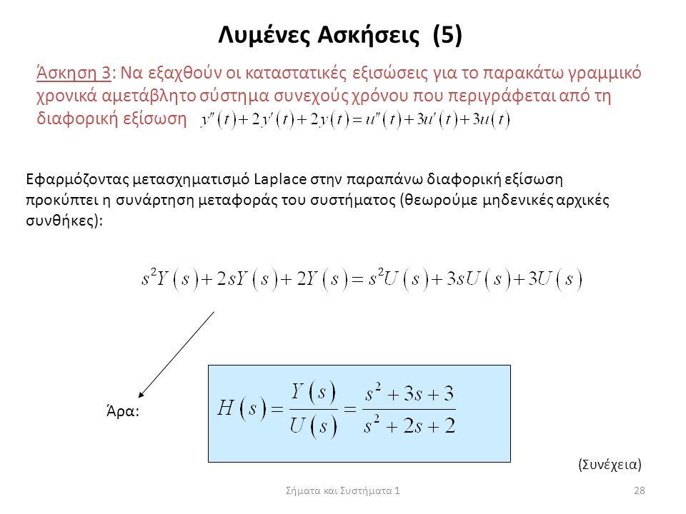 Σήματα και Συστήματα 128 Λυμένες Ασκήσεις (5) Άσκηση 3: Να εξαχθούν οι καταστατικές εξισώσεις για το παρακάτω γραμμικό χρονικά αμετάβλητο σύστημα συνε