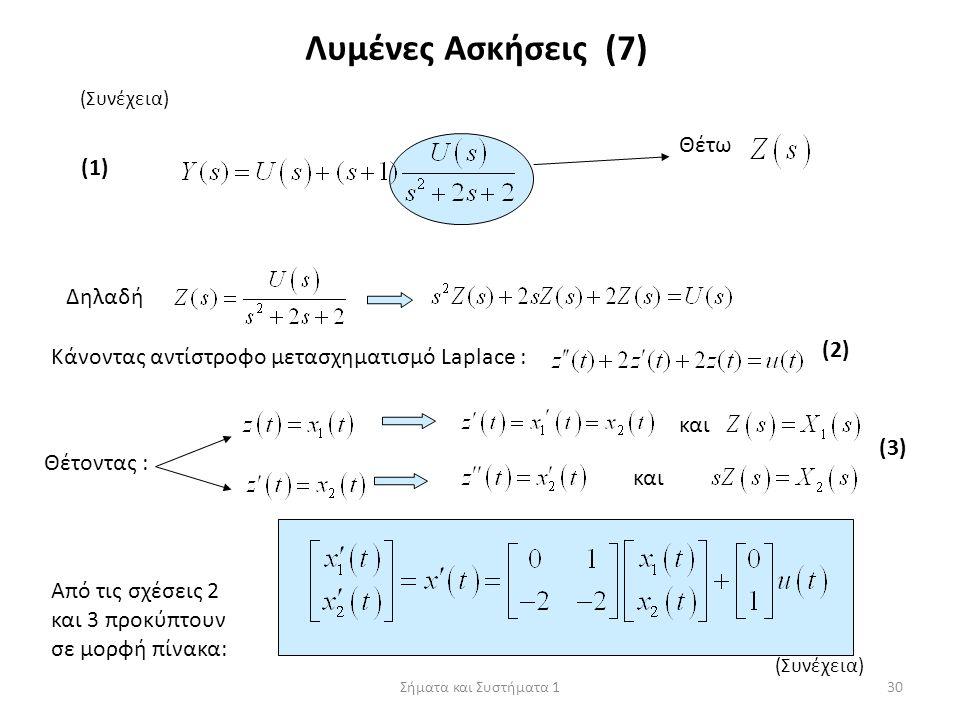 Σήματα και Συστήματα 130 (Συνέχεια) Λυμένες Ασκήσεις (7) Θέτω Δηλαδή (1) Κάνοντας αντίστροφο μετασχηματισμό Laplace : Θέτοντας : και (2)(2) (3)(3) Από