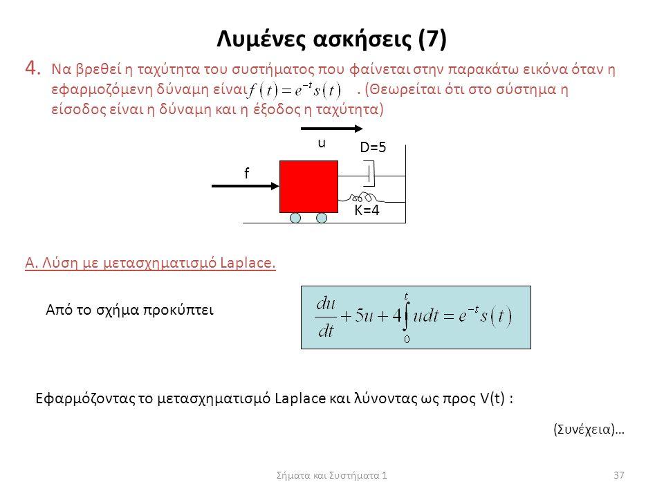 Σήματα και Συστήματα 137 Λυμένες ασκήσεις (7) 4. Να βρεθεί η ταχύτητα του συστήματος που φαίνεται στην παρακάτω εικόνα όταν η εφαρμοζόμενη δύναμη είνα