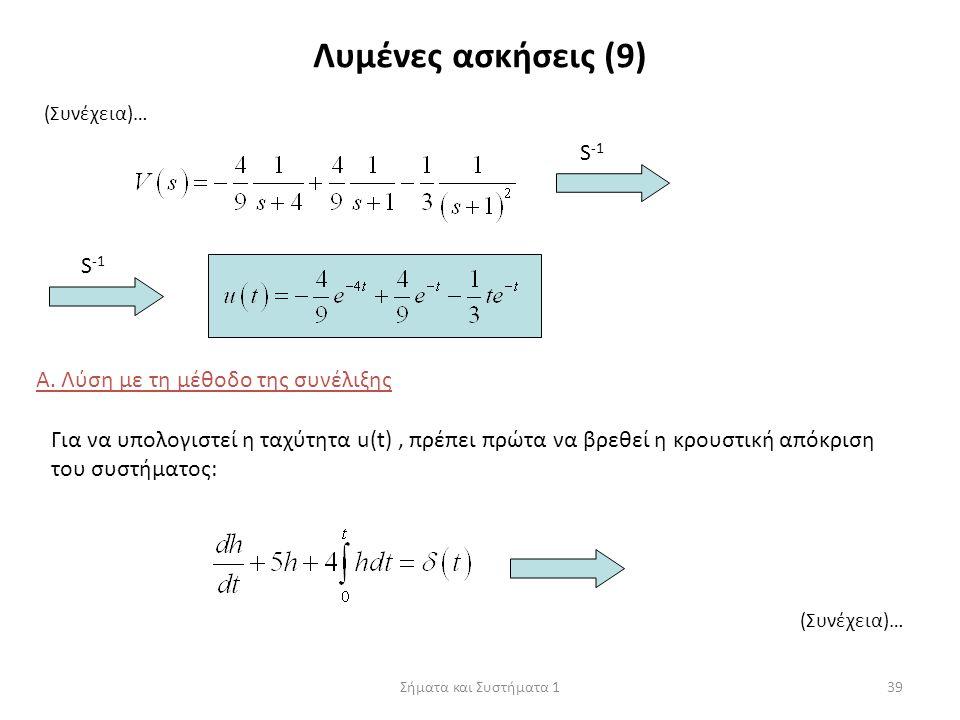 Σήματα και Συστήματα 139 Λυμένες ασκήσεις (9) (Συνέχεια)… S -1 Α. Λύση με τη μέθοδο της συνέλιξης Για να υπολογιστεί η ταχύτητα u(t), πρέπει πρώτα να