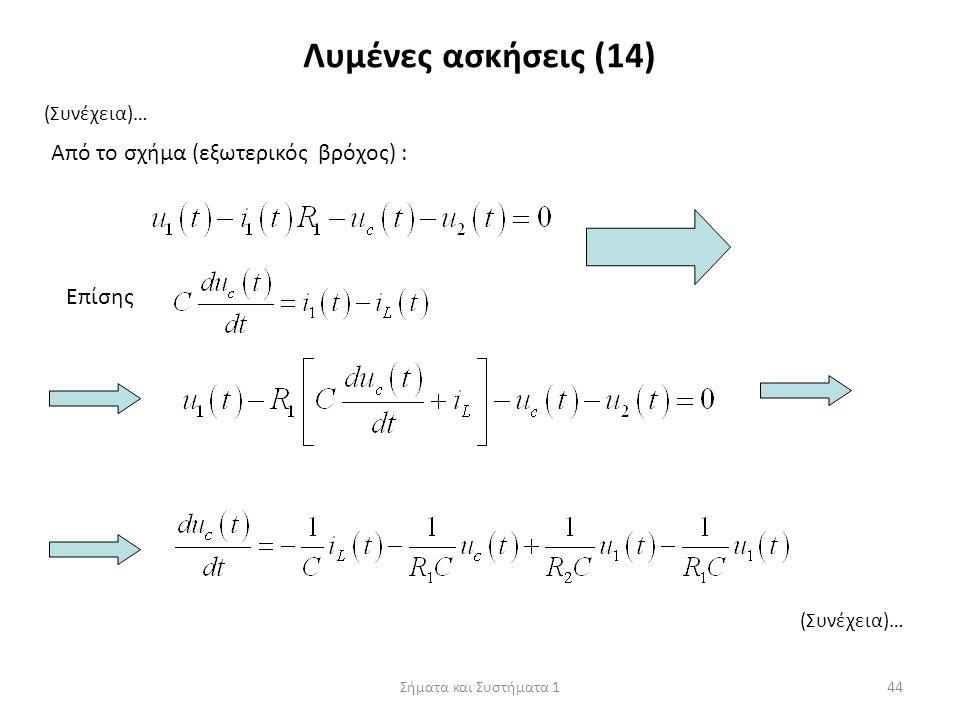 Σήματα και Συστήματα 144 Λυμένες ασκήσεις (14) (Συνέχεια)… Από το σχήμα (εξωτερικός βρόχος) : Επίσης (Συνέχεια)…
