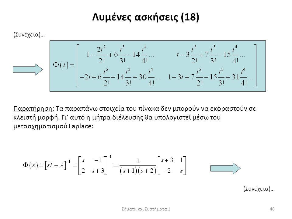 Σήματα και Συστήματα 148 Λυμένες ασκήσεις (18) (Συνέχεια)… Παρατήρηση: Τα παραπάνω στοιχεία του πίνακα δεν μπορούν να εκφραστούν σε κλειστή μορφή. Γι'
