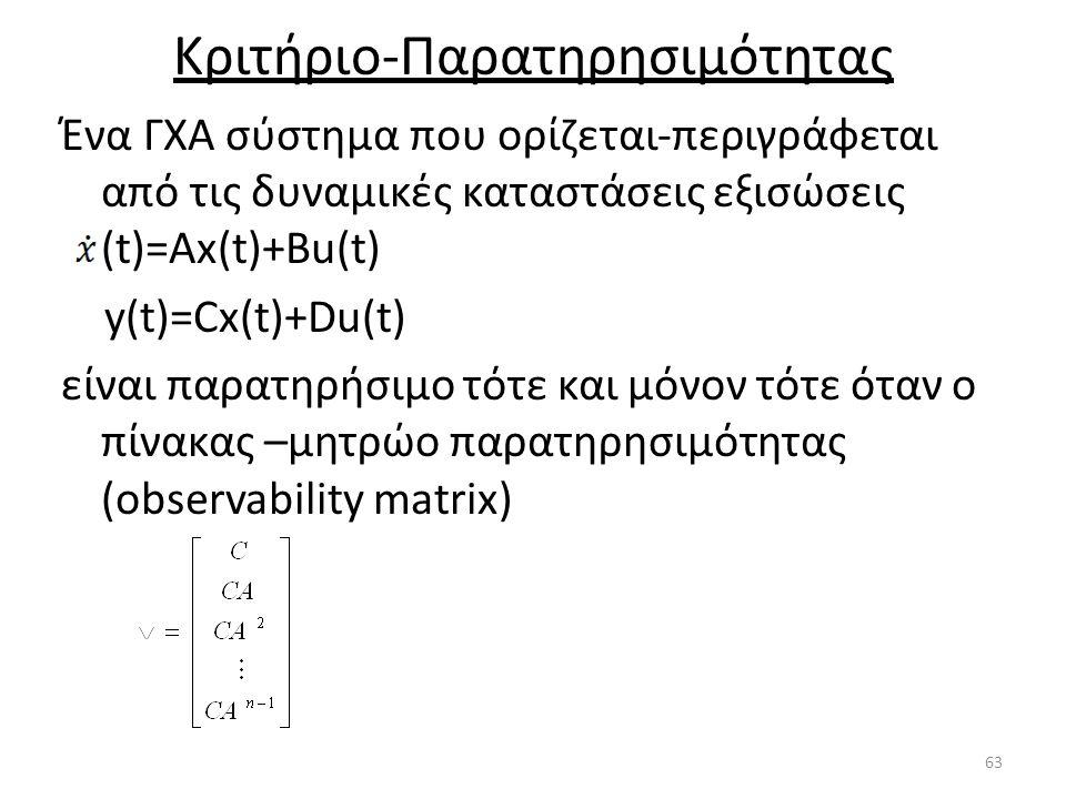 Κριτήριο-Παρατηρησιμότητας Ένα ΓΧΑ σύστημα που ορίζεται-περιγράφεται από τις δυναμικές καταστάσεις εξισώσεις (t)=Ax(t)+Βu(t) y(t)=Cx(t)+Du(t) είναι πα